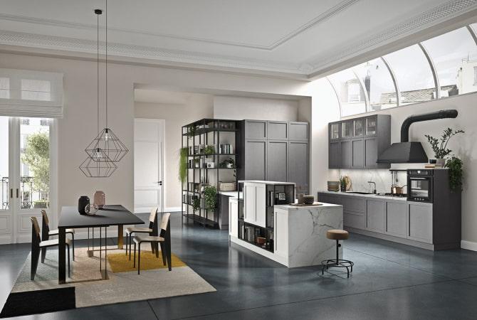 Cucina grigia con anta telaio moderna Fifty 03
