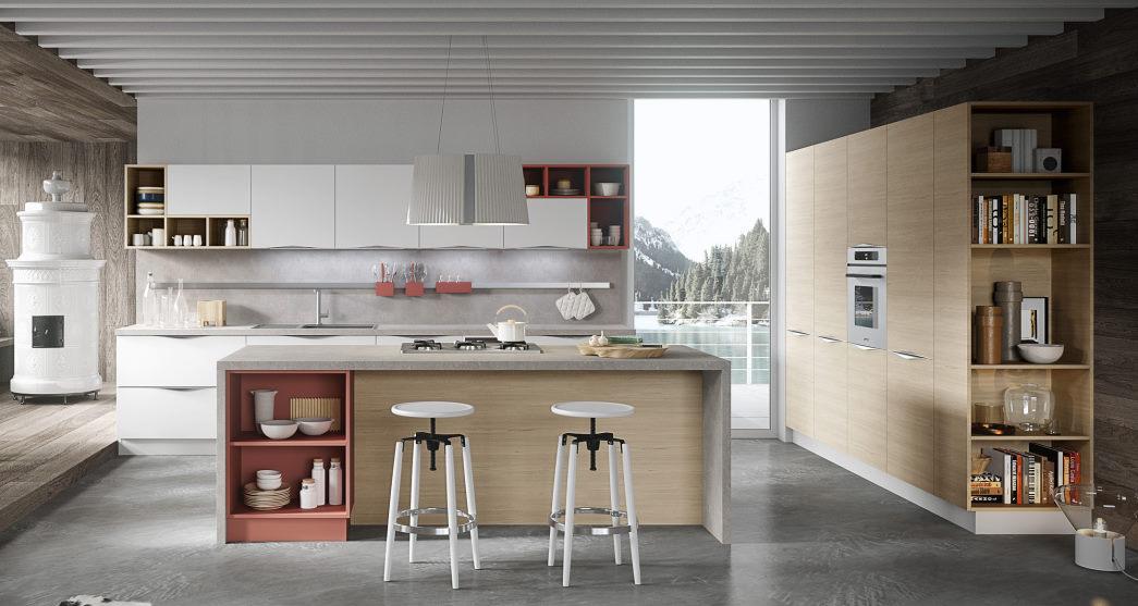 Cucina bianca con isola e colonne in legno chiaro finitura larice Five 05