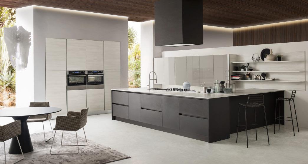 Grande cucina minimal bianca, nera e grigia Six 01
