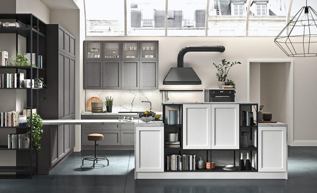 Cucina con penisola in legno bianco e colonne in legno grigio Fifty 03