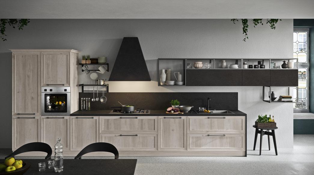 Cucina lineare stile vintage in legno sbiancato con top e cappa neri Sixty 02