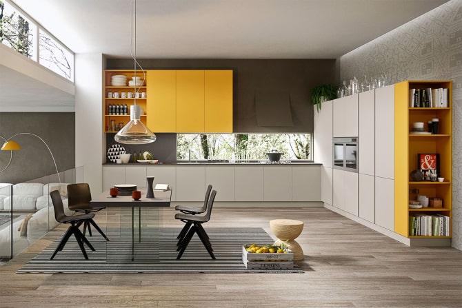 Cucina moderna con pensili gialli Seven 03