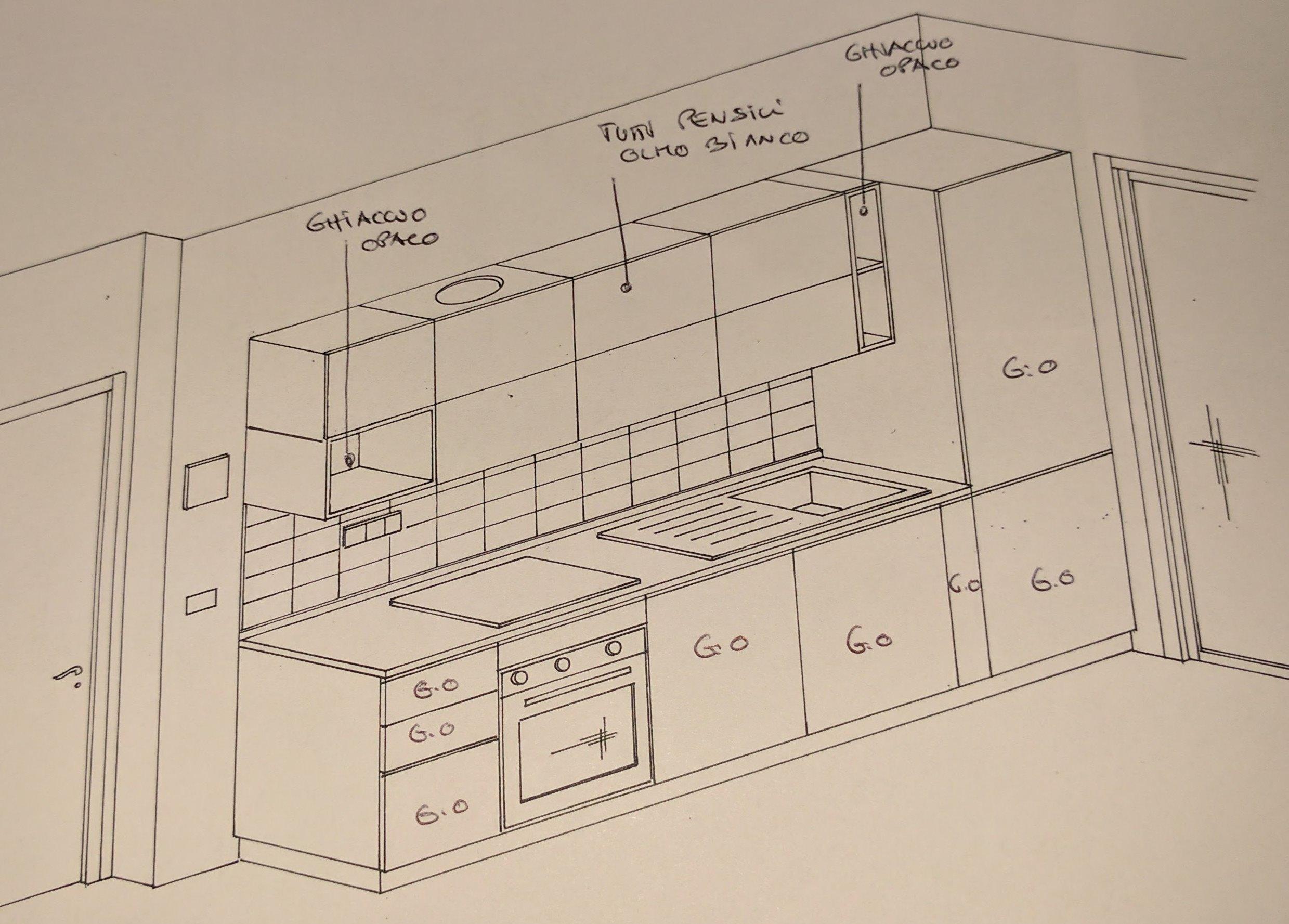 Progetto cucina lineare completa lunga 3 metri