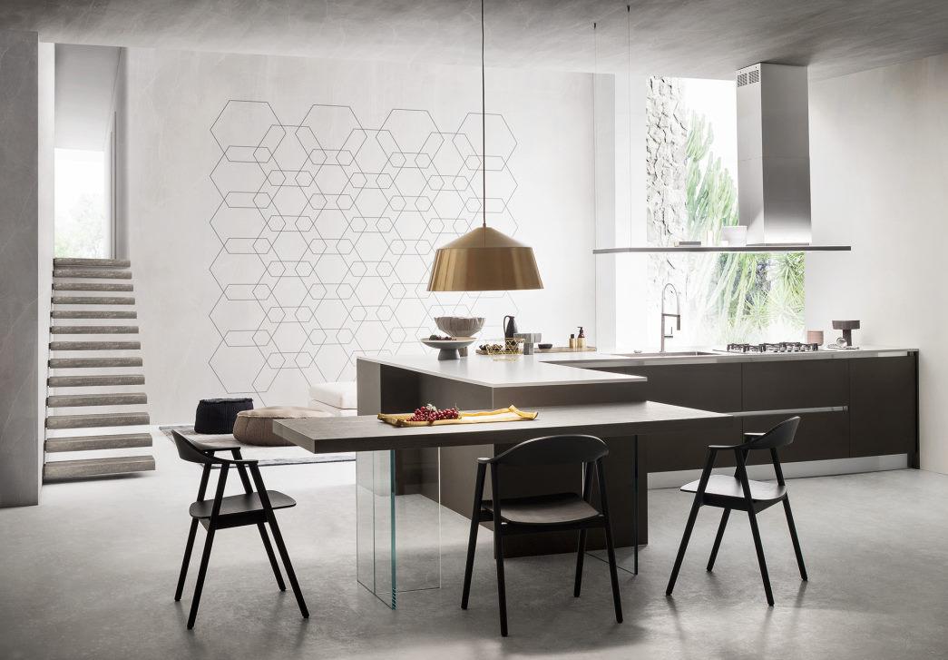 Cucina a L senza pensili nera con top bianco Six 06