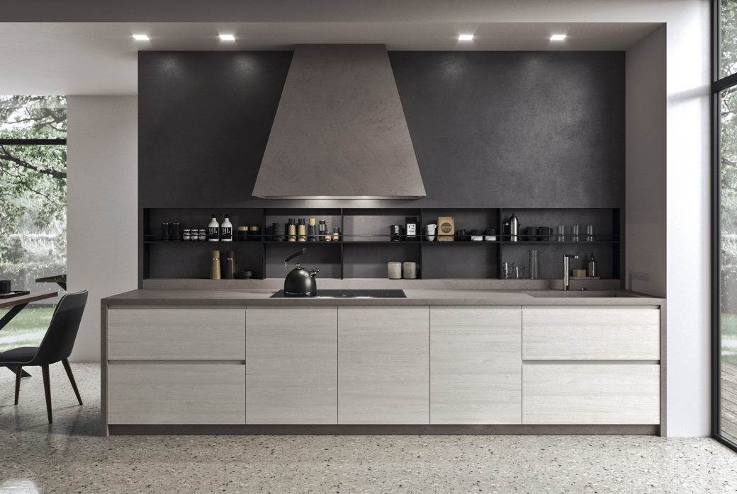 Cucina a parete in noce bianco con piano grigio Nine 05