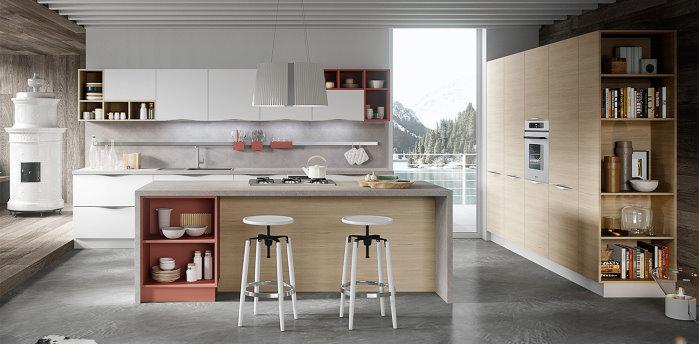 *CLICCA E SCOPRI QUESTA CUCINA* <br/>Soluzione per open space con mobili cucina e mobile dispensa con terminale aperto per libri e soprammobili <br/>