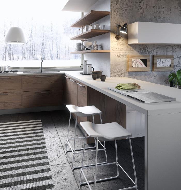Cucina in legno con top e bancone snack bianchi