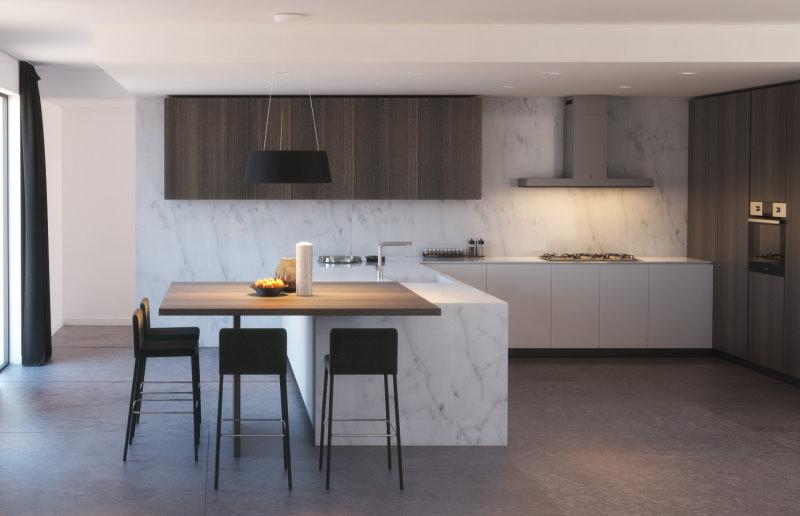 Cucina con penisola e paraschizzi in marmo bianco, pensili e tavolo penisola in legno scuro - Klab 06
