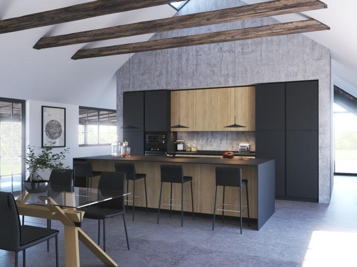 Cucina nera e legno KLab 04
