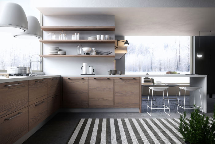 Cucina moderna in legno con mensole Ninety 04