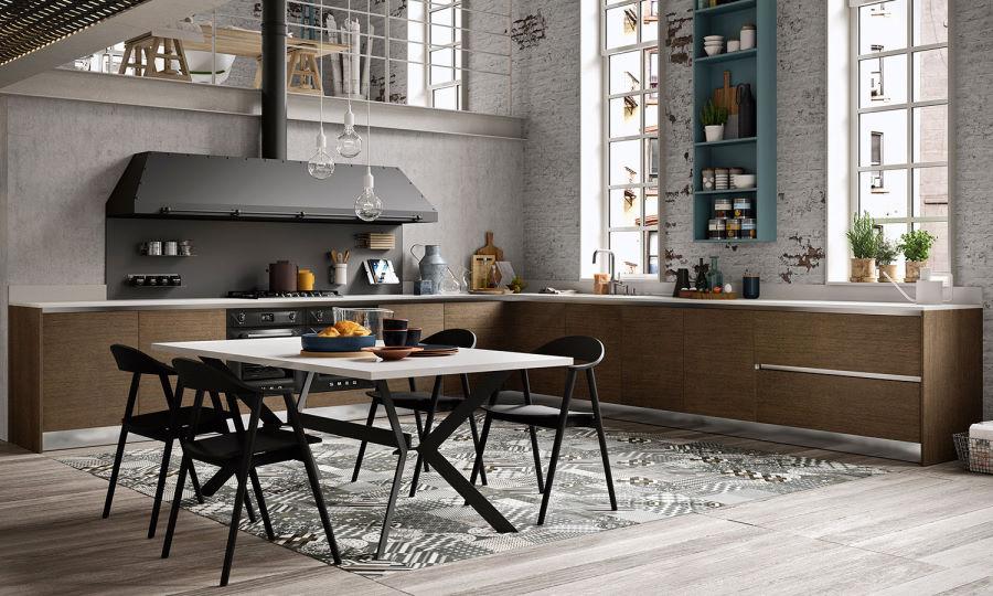 Grande cucina ad angolo senza pensili Six 16