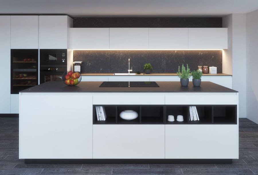 Cucina di design con isola e pensili orizzontali bassi KLab 05