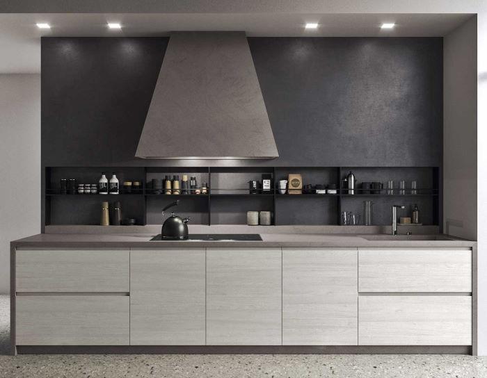Cucina moderna senza pensili con schienale attrezzato Nine 05