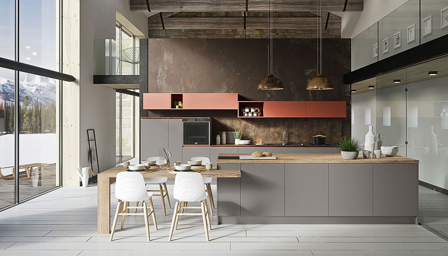 Kitchen with red grey isle and wooden top