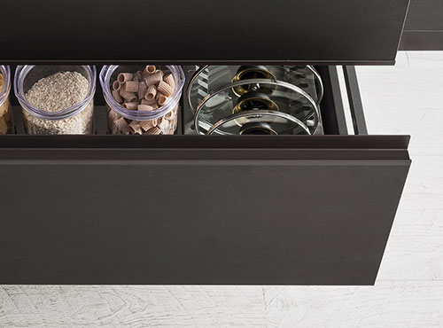 Black kitchen drawer with matching edge