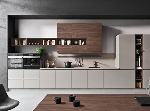 White and taupe kitchen with snack bar