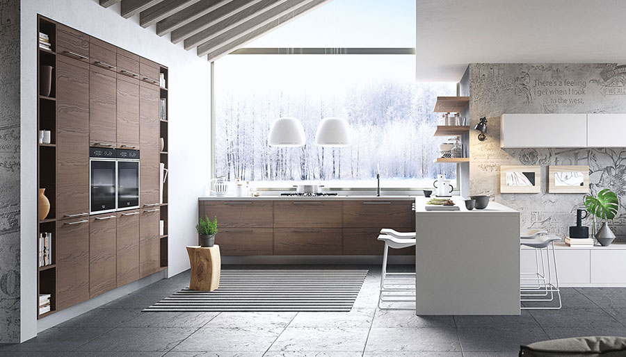 Kitchen with peninsula, white and wood mix