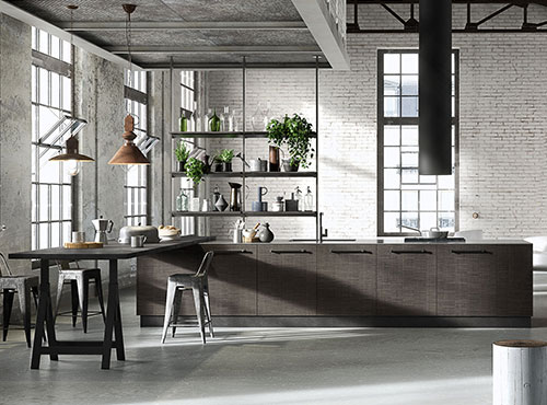Kitchen with isle in dark wood with steel counter top