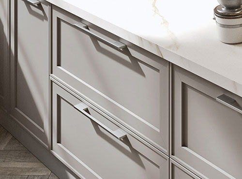 Grey lacquered in-frame kitchen doors