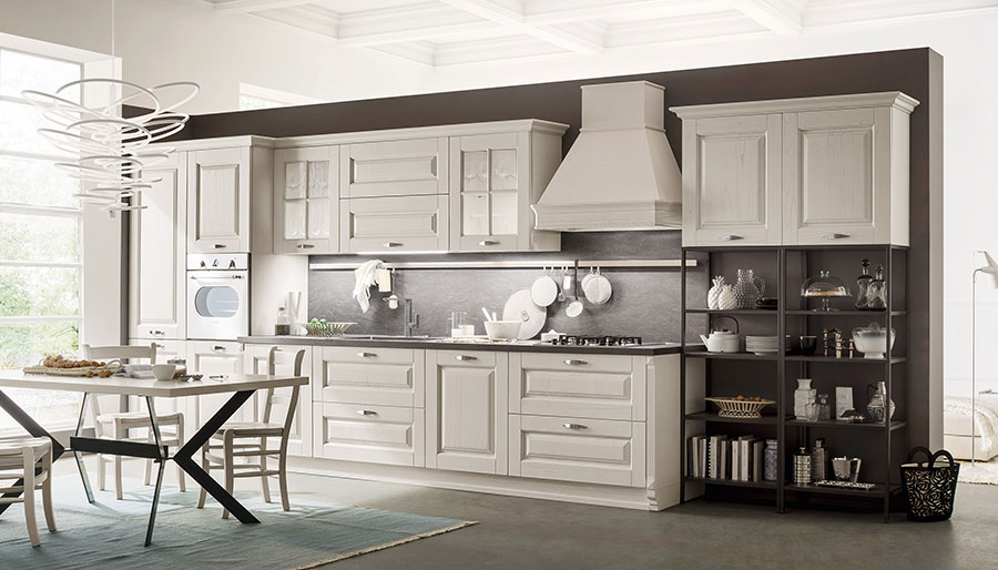 Classic white decapé lacquered kitchen