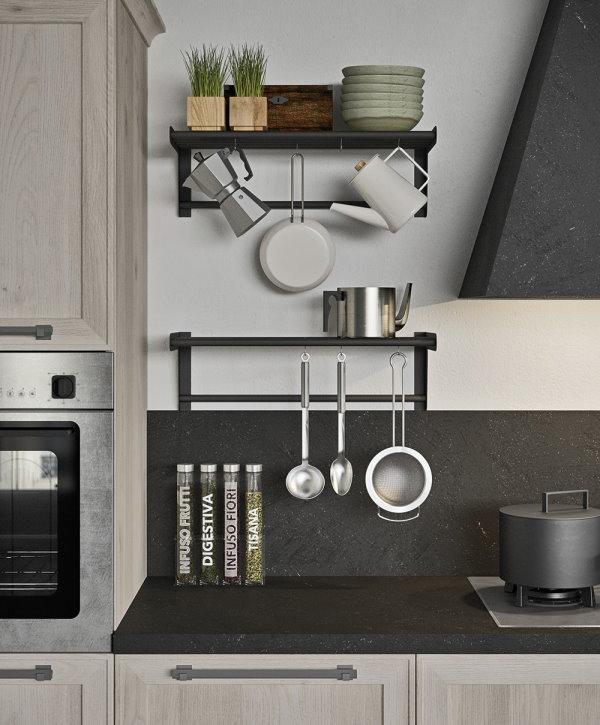 Cucina su misura con barra portautensili super accessoriata