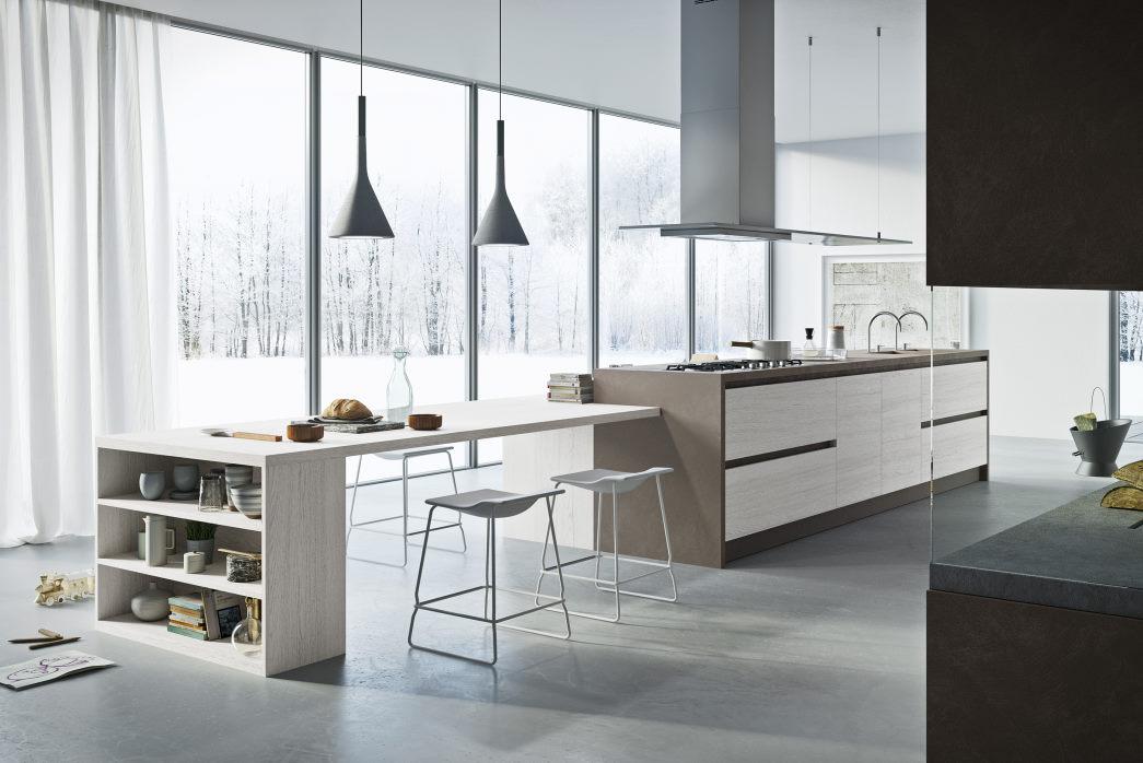 Isola cucina bianca con tavolo integrato e top grigio-marrone in ecoresina Six 17