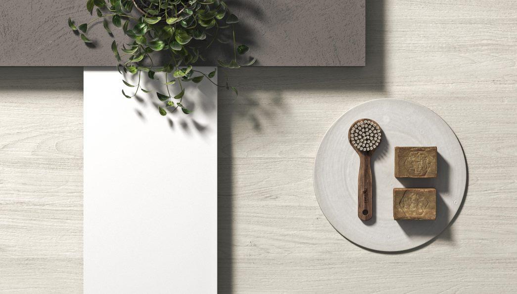 Moodboard cucina: bianco, legno sbiancato, cemento grigio