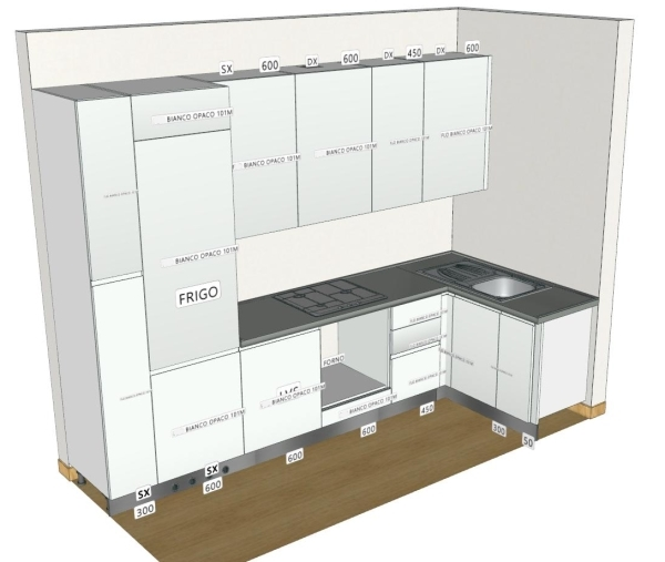 Idee il progetto di matteo soggiorno stretto e lungo - Progetto cucina angolare ...