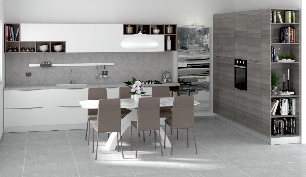 Progetto per cucina bianca, beige e legno tinto con colonne staccate