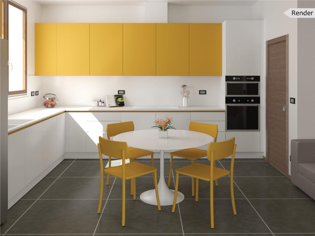 Progetto: cucina bianca e gialla a L