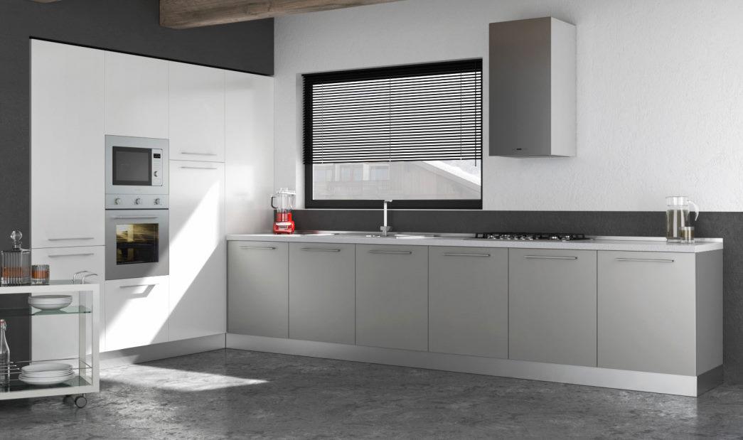 Progetto: cucina bianca e grigio chiaro Vega ad angolo