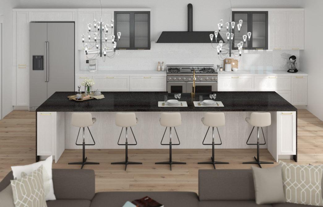Progetto: cucina in stile americano bianca con grande isola centrale