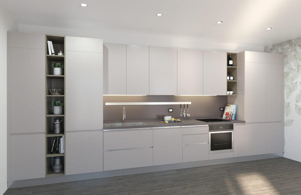 Progetto: cucina bianca con top e mensole tortora