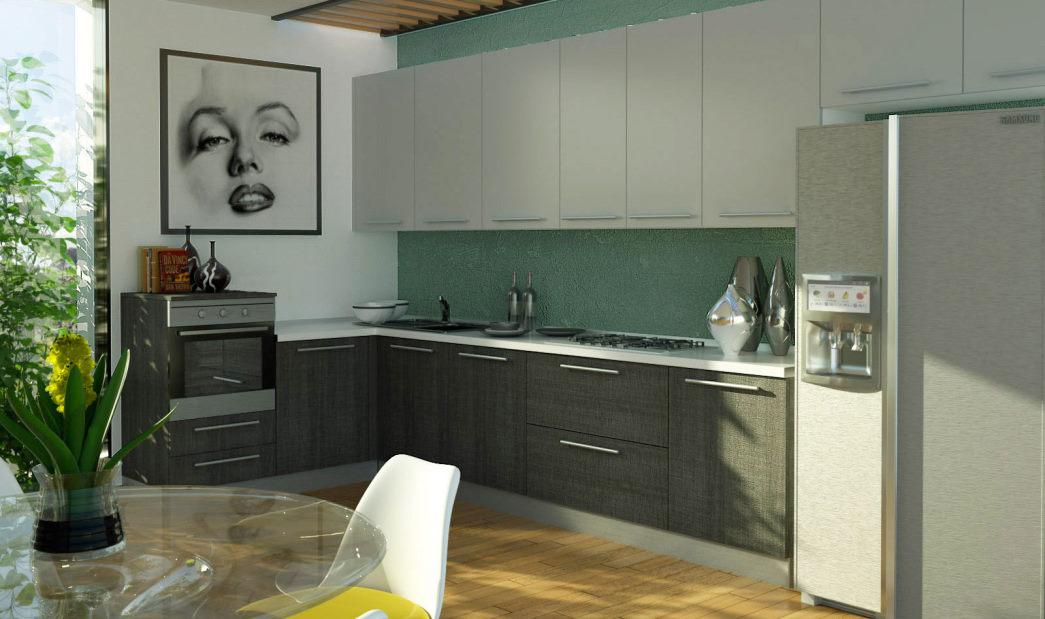 Cucina in rovere grigio con pensili e top bianchi Sistema 901