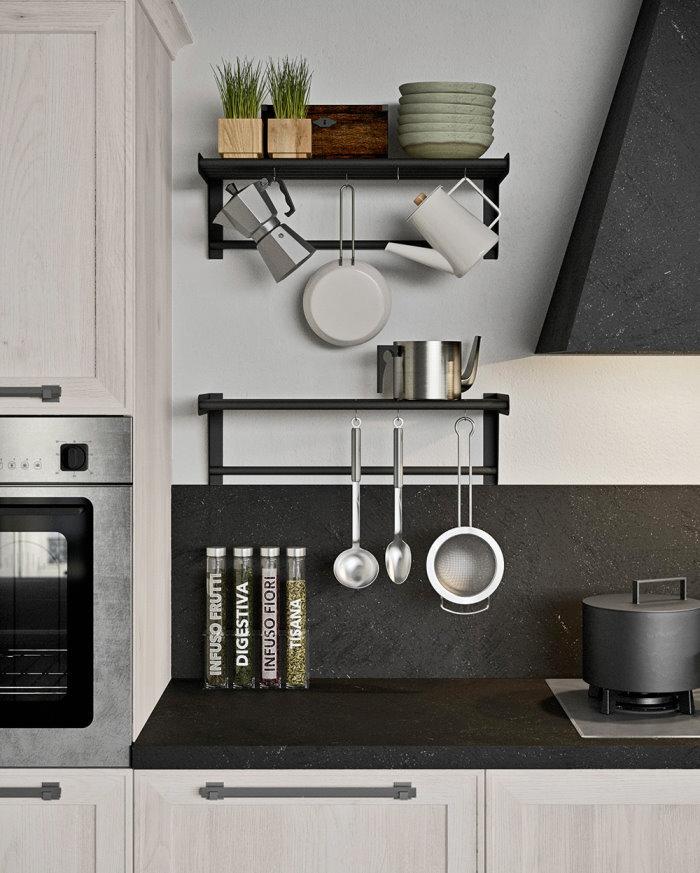 *CLICCA E SCOPRI QUESTA CUCINA* <br/>Mensola con ganci per stoviglie, caffettiera, teiera e piccoli oggetti da cucina