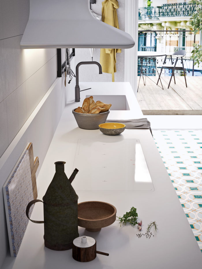 Top cucina con lavello integrato e piano a induzione bianchi
