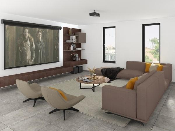 Progetto per salotto quadrato: render fotorealistico