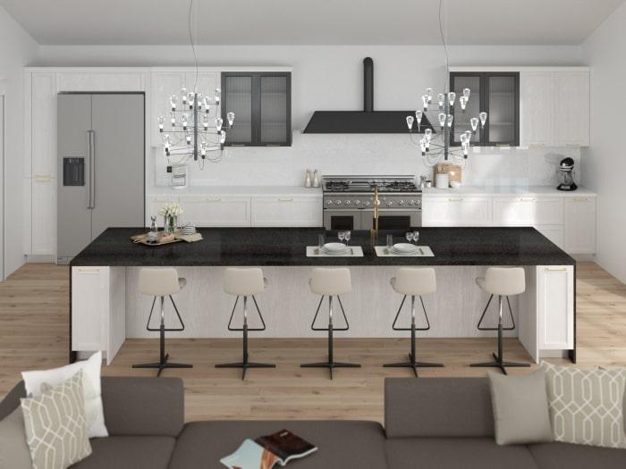 Progetto per cucina con isola centrale e composizione lineare