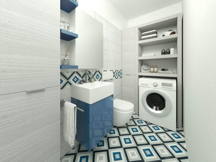 Bagno piccolo con lavanderia - Render fotorealistico