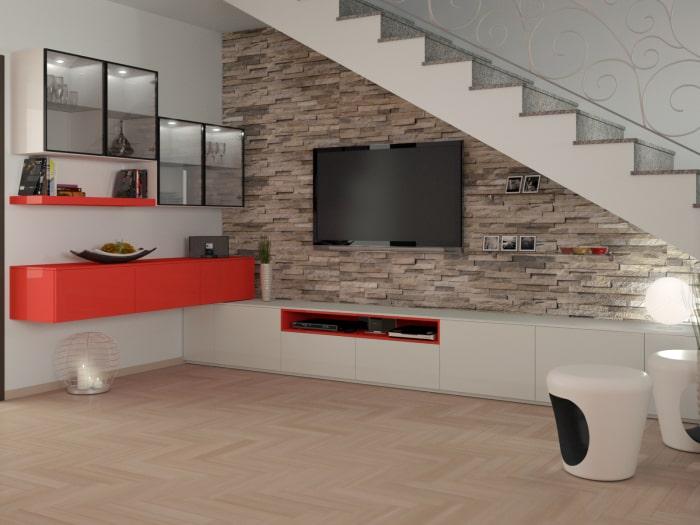 Progetto terminato: sottoscala arredato con parete attrezzata e mobili componibili