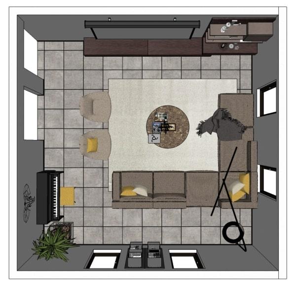 Progetto per salotto quadrato: la piantina del locale