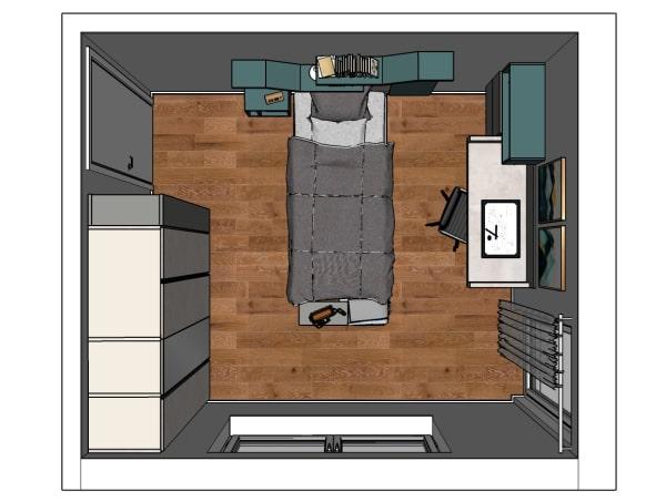 Piantina della camera da letto di 15 mq