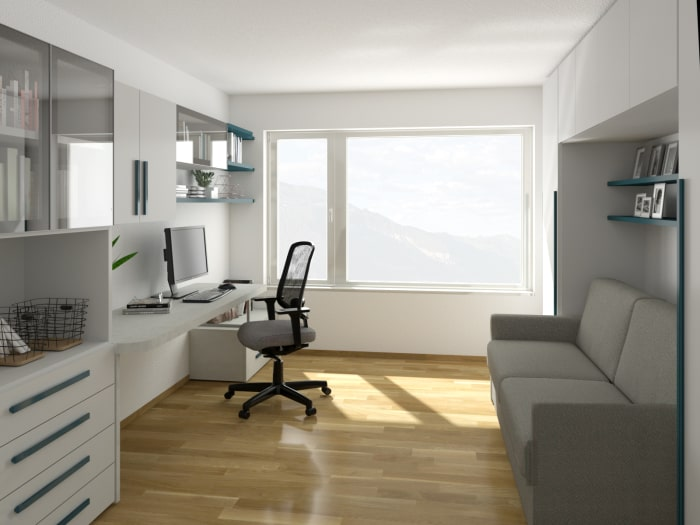 Progetto d'arredo per camera studio - Render Fotorealistico
