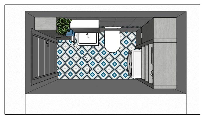 Piantina del bagno di 3 metri quadri, lungo e stretto
