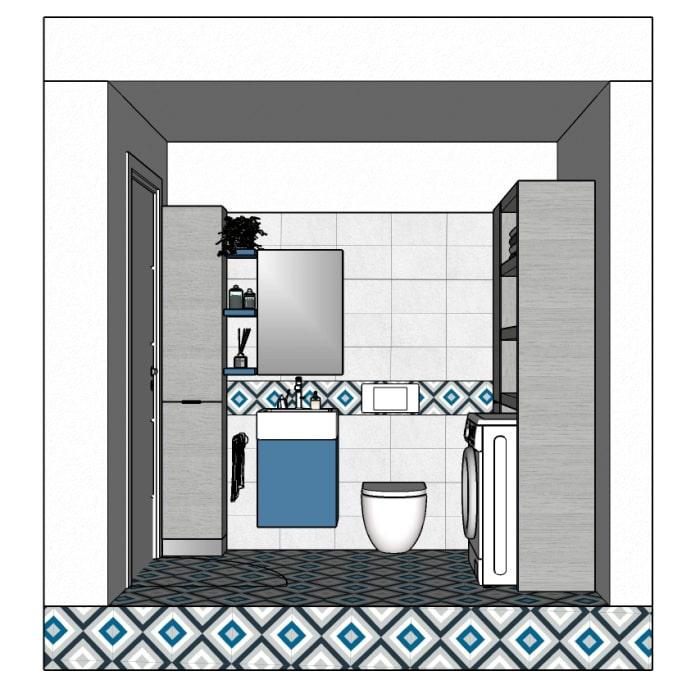 Vista frontale del mini bagno con lavanderia