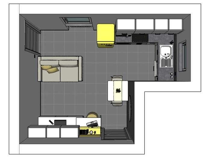 Ipotesi 1 (scelta dai Clienti): frigorifero free-standing e divano a filo con la porta interna
