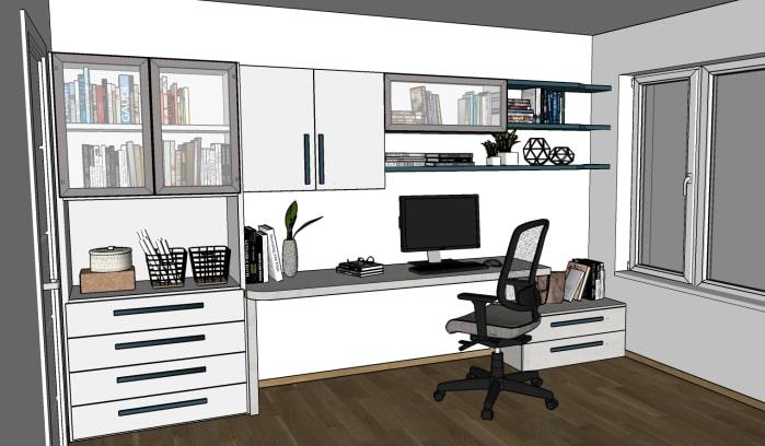 Zona home office - render del progetto