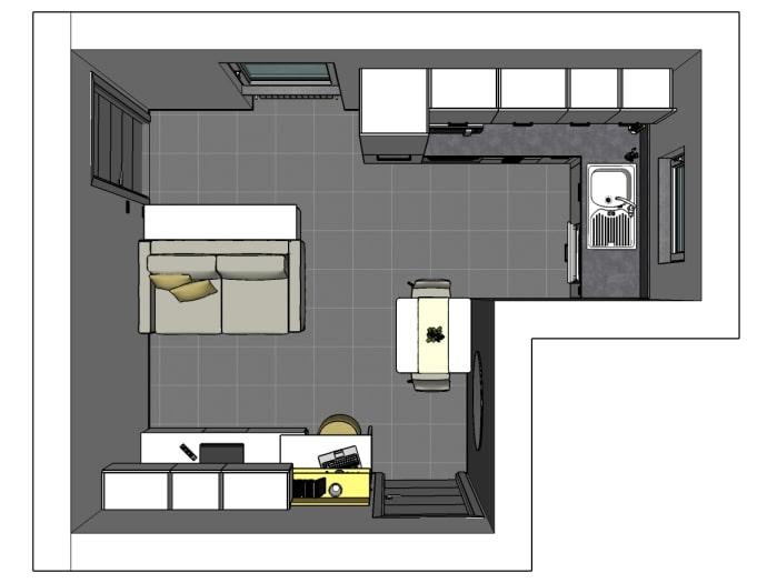 Ipotesi 2: frigorifero a colonna e mobile contenitore inserito dietro al divano