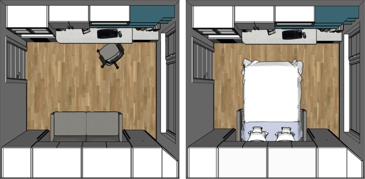 Spazio occupato dal divano letto chiuso e aperto - render del progetto