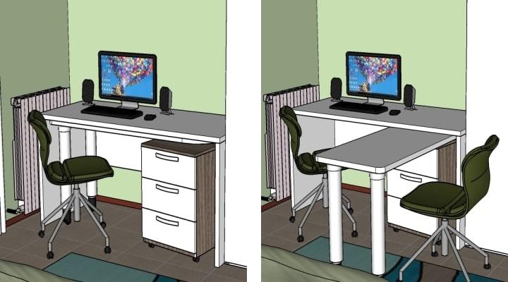 Dettaglio della scrivania con secondo piano aperto e chiuso